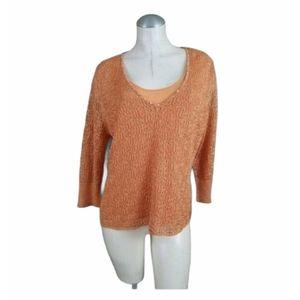 3/$25 Sigrid Olsen L Orange Metallic Knit Top